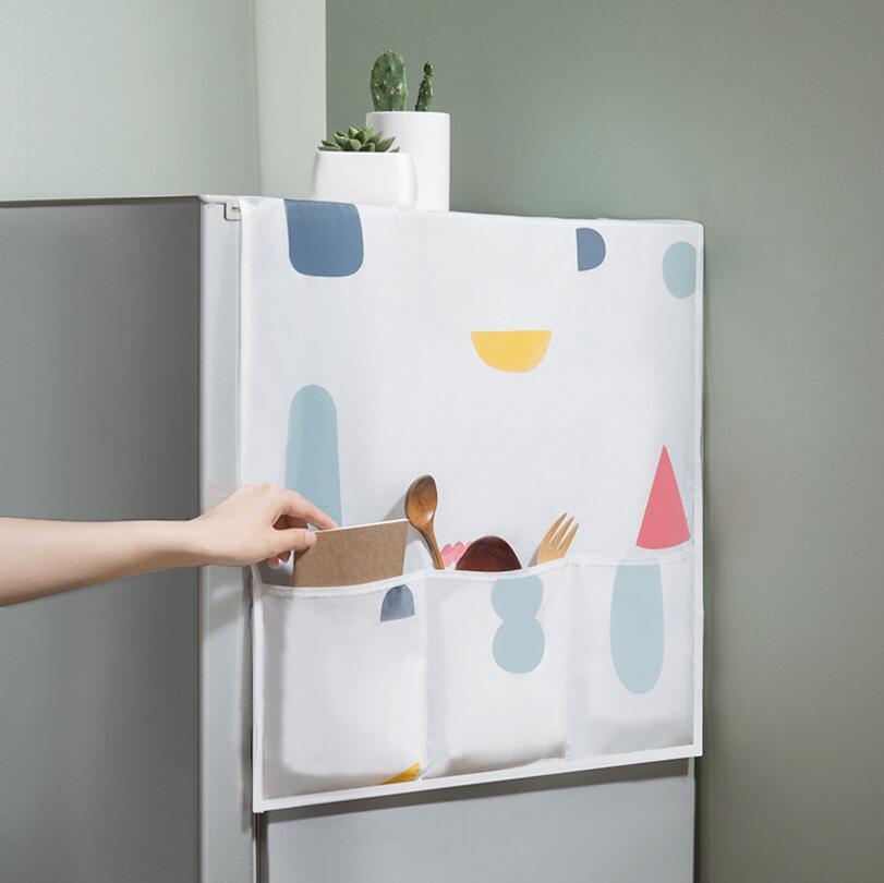 Tela geométrica para refrigerador de una sola Puerta, cubierta para el polvo, Pastoral, toalla abierta doble, toalla para lavadora, 1 Uds.