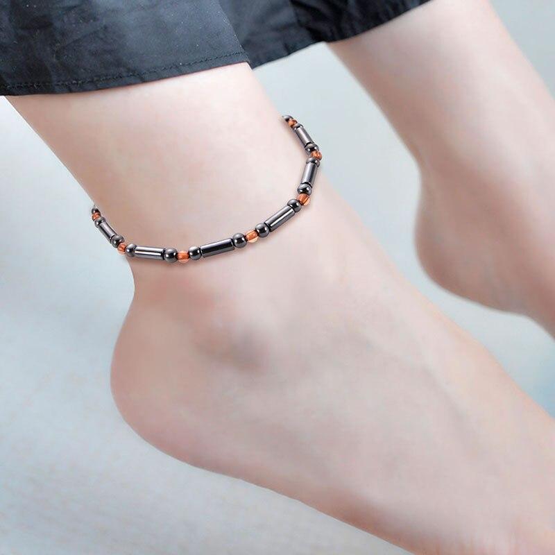 Novo preto terapia magnética tornozeleira pulseiras shellhard grânulos pé corrente saudável perda de peso tornozelo pulseira para mulheres bijuterias masculinas