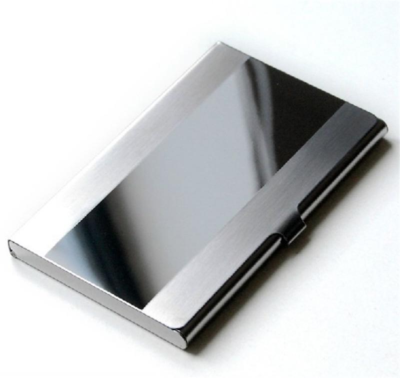 Qualidade de aço inoxidável titular do cartão de crédito dos homens fino anti proteger viagem id titular do cartão carteira de metal caso porte carte