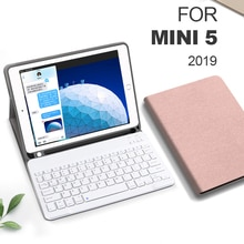 Funda pour iPad mini 5 4 3 2 1 étui pour clavier avec porte-crayons Smart tissu Texture Silicone couverture arrière pour iPad mini 5 2019 7.9
