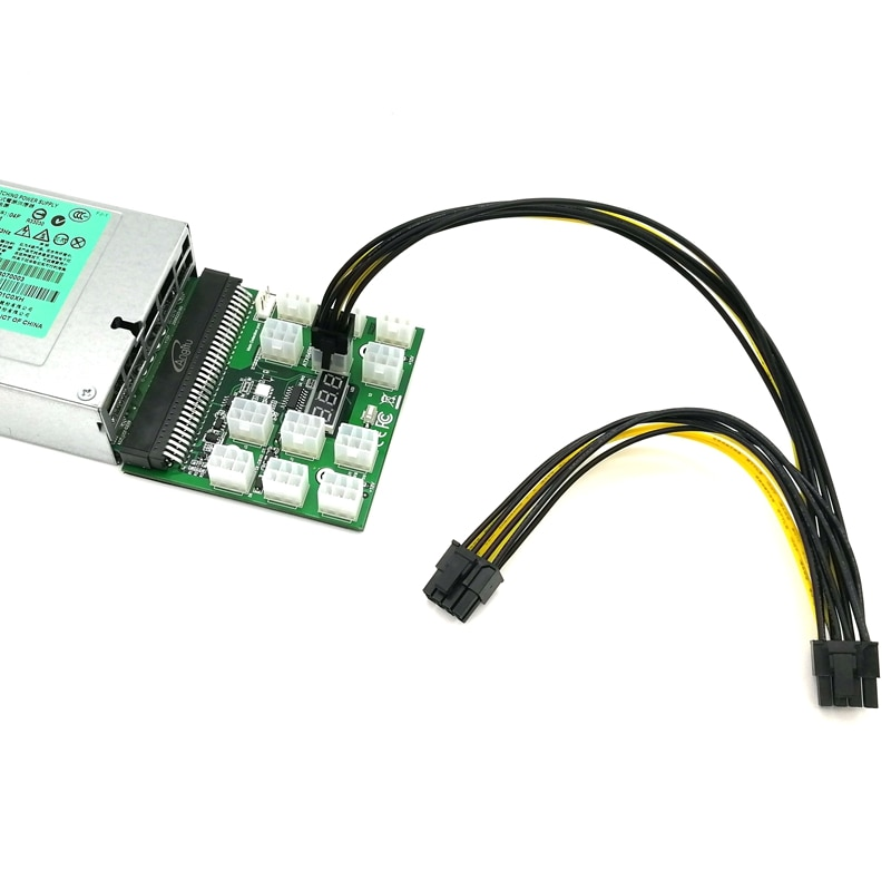 ul 1007 16awg pci e 6pin male to dual 6pin male power cable for mining PCI-E 6Pin to Dual PCIe 8Pin (6+2Pin) Power Cable for ETH Mining