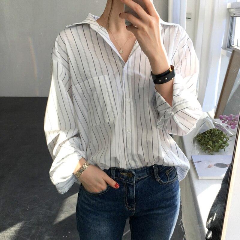 Рубашка женская в полоску, топ и блузка, свободная блузка в Корейском стиле, лето 2018 блузка в полоску