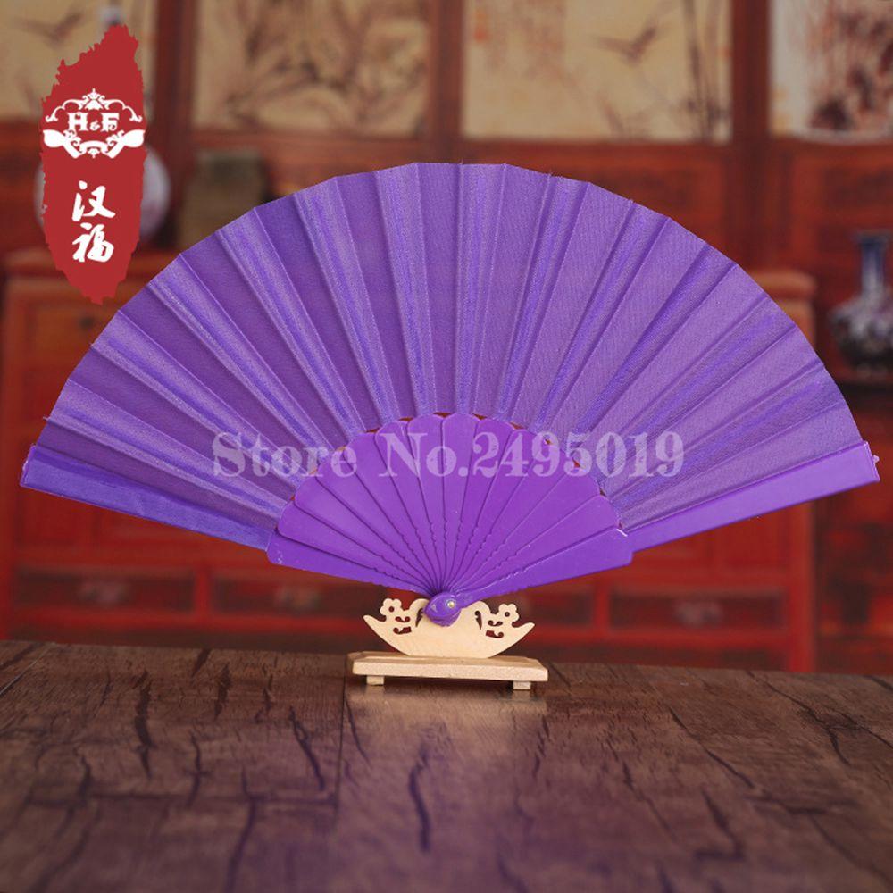 Free Shipping Wholesale 50pcs/lot Spanish Style Multi-color Polyester / Cotton Plastic Plain Dyed Blank Folding Hand Fan