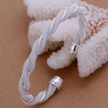 Offre spéciale 925 bagues en argent sterling 925 bijoux de mode en argent cadeaux de noël bijoux de mode torsadé Web bracelet argenté