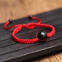 energy bracelets bangles natural black rainbow eye obsidian bracelet hand woven lucky red rope beads ball for couple men women