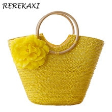 REREKAXI Flower Summer Beach Bag Wheat Pole Weave Woman's Handbag Bohemian Lady's Straw Bags High Capacity Travel Totes. bolsas