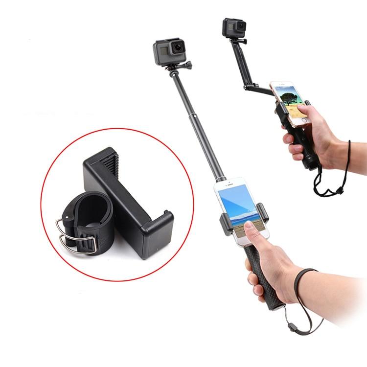 Auto Selfie bloqueo Clip Stick Handheld Monopod ajustable hebilla teléfono titular adaptador para Gopro HERO 7 6 5 4 8 xiaomi yi 4K SJCAM