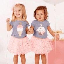 2020 Summer Baby Girls Clothes Set Toddler Baby Girls Ice Cream Cake Print Tops T-shirt+Dot TuTu Skirts Outfits Set Ropa Nina