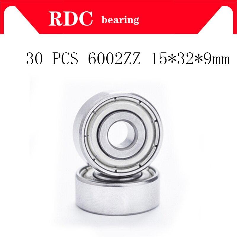 30 unids/lote ABEC-5 6002ZZ 6002z 6002 ZZ 15x32x9mm Mini rodamiento de bolas en miniatura rodamiento de bolas de alta calidad rodamiento rígido de bolas