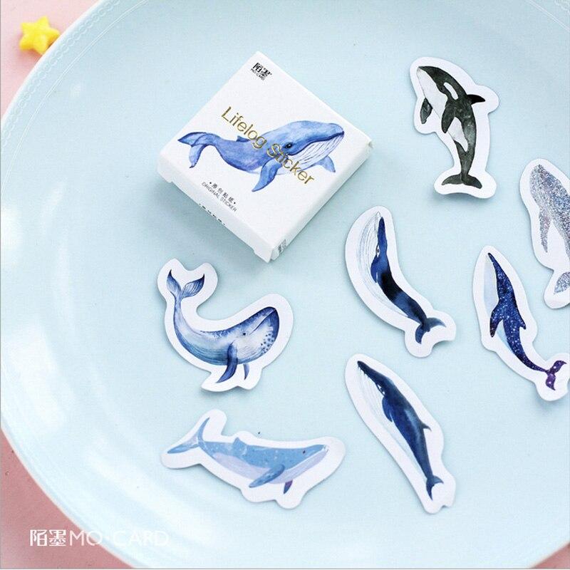 45 pçs/lote Animal baleia Azul peixe mini decoração adesivo DIY álbum diário scrapbooking etiqueta de papel adesivo artigos de papelaria kawaii