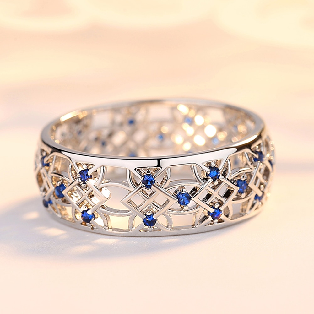 Beiver מעוקב Zirconia טבעת עבור נשים חלול שני טון טבעת זהב לבן תכשיטי אופנה פופולרי ריינסטון חתונה טבעות עבור femal