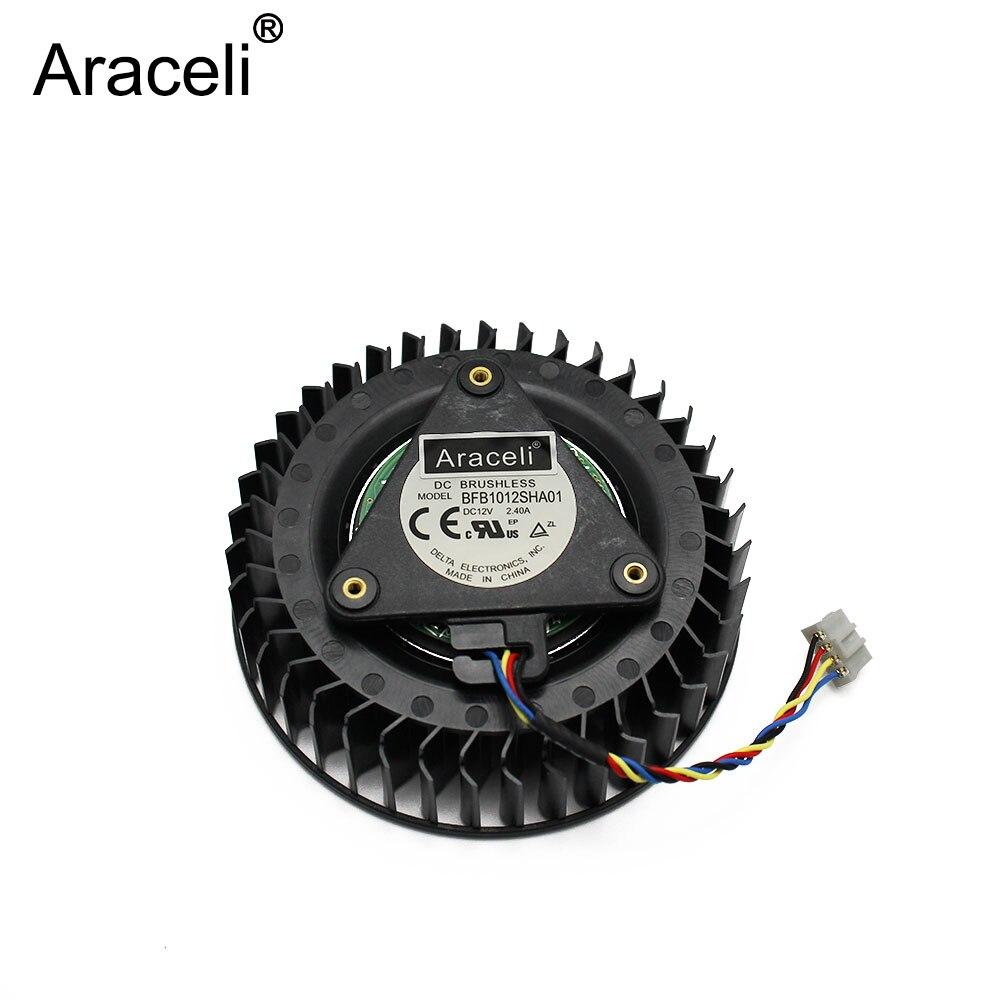 1 Uds ventilador Delta BFB1012SHA01 12v 2.4A referencia R9 390x AMD R9 390X R9 390 X ventilador de la tarjeta gráfica
