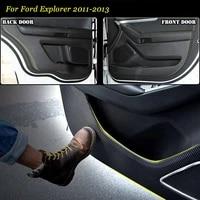 4pcs new interior carbon fiber doors side edge anti kick protection pad sticker for ford explorer 2011 2013