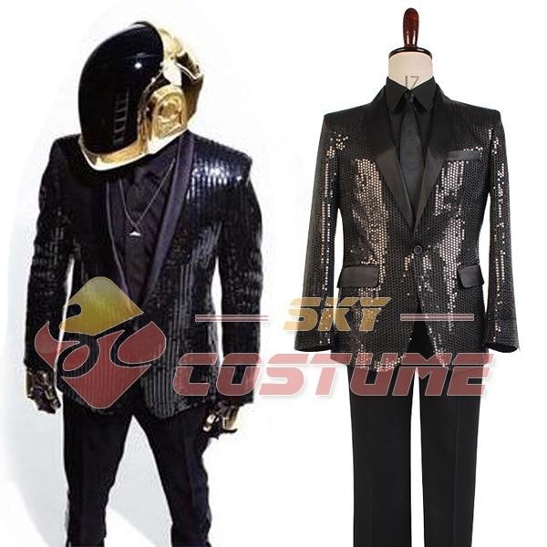Daft Punk Sparking Black Sequin Performance Jacket Shirt Outfits Robot For Men Women Halloween Club Cosplay Costume Full Set
