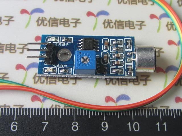 5PCS Sound sensor module detection module microphone module whistle voice module switch sound+3 free Dupont cable 20cm