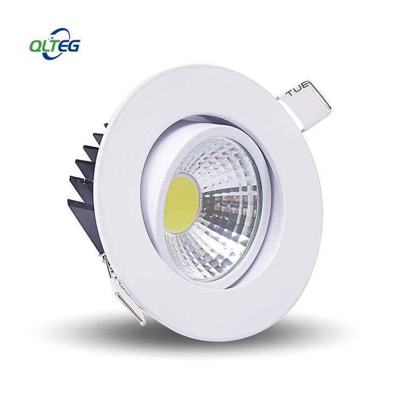 QLTEG regulable luz Led downlight COB foco de techo 3w 5w 7w 12w AC85-265V luces empotrables de techo iluminación interior 4000K