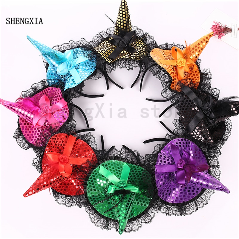 Halloween sequins hat witch hat headband holiday masquerade bow witch hat hair accessories headband