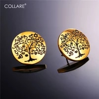 collare tree of life earrings for women gold color stainless steel wholesale lucky cute stud earrings fashion jewelry e250