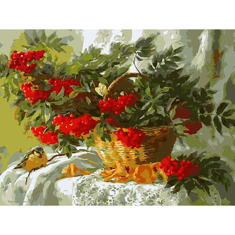 40*50 cm DIY lienzo Digital pintura al óleo por números colorear por números pintura acrílica moderna por número Kits cesta de fruta pájaro