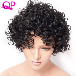 Qp Hair 6 inch Short Synthetic Kinky Curly Wig Adjustable Black  Hair For African Women Wigs