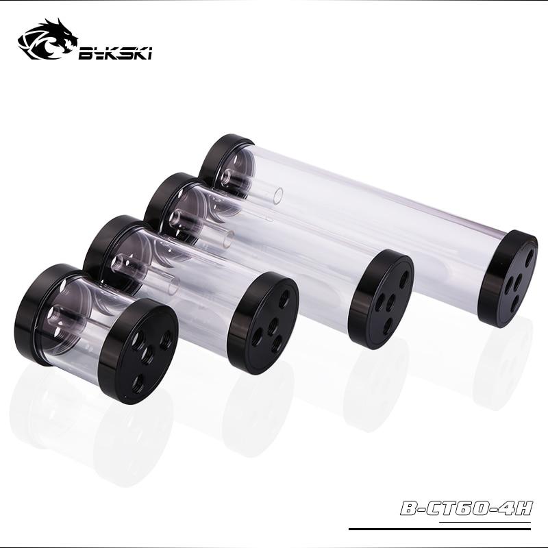 Bykski B-CT60-4H, reservatórios do cilindro de 60mm, corpo acrílico preto da cobertura da liga de alumínio, 60mm diâmetro 80/130/180/240mm comprimento