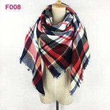 Za Winter Chic Knit Stole 2017 Oversize Tartan Scarf Shawl Grid Check Women Bandana New Designer Acrylic Plaid Blanket Scarves