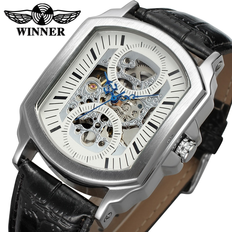 WRG8080M3S2 Winner Skeleton fashion dress wrist watch with gift box automatic watch new men silver color free shipping best