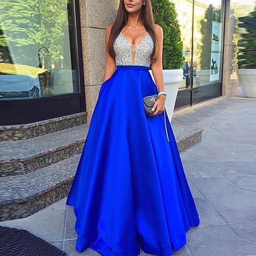 Vestido de fiesta de novia de empalme largo con lentejuelas sin mangas con cuello en V azul línea de forma de a elegante vestidos de gasa dama de honor vestido de cena