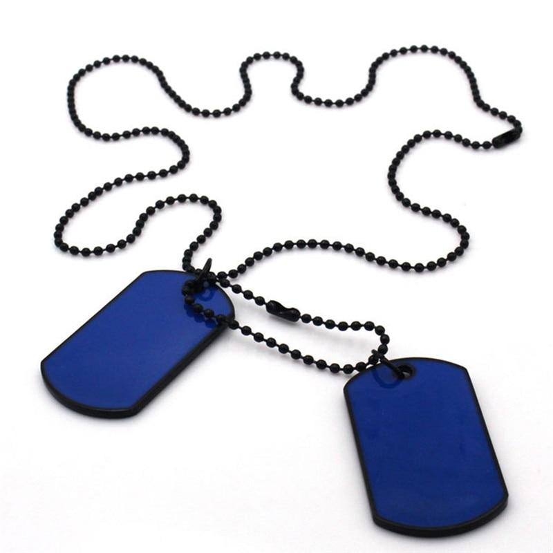 Collar con colgante de aleación militar para hombre, placa de identificación de perro doble plateada, collar de cadena de motorista del ejército para hombre, collar kolye S3