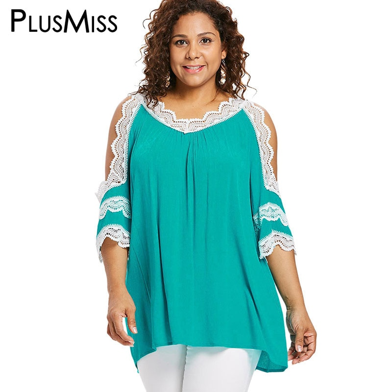 PlusMiss talla grande 5XL encaje Crochet blusa de hombro frío mujeres XXXXL XXXL XXL Sexy Vintage Retro Boho suelta Tops grandes tamaño de las señoras