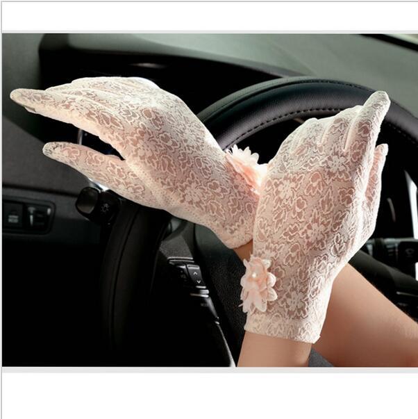 Primavera y verano 2018, guantes de encaje sensuales con protección solar Vintage para mujer, guantes protectores contra rayos ultravioleta para mujer, guantes para conducir al aire libre en 5 colores
