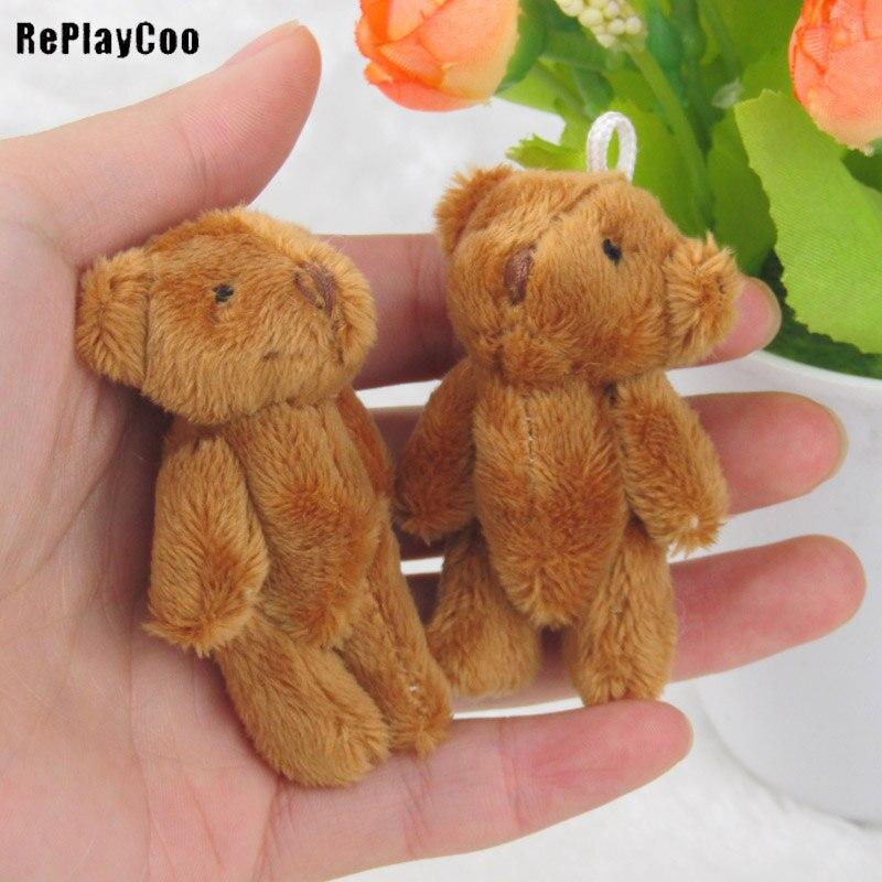 100 unids/lote Mini oso de peluche juguetes de peluche pequeños Bear6.5cm marrón oscuro juguetes de peluche colgante peluche niños cumpleaños GiftJ00403