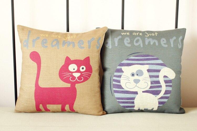 Cute cat dreamer MR.CAT11 No.Linen Cotton Pillow Cat Cushion  for Car Office Home  Decorate Cushions 45*45cm 2PCS/lot