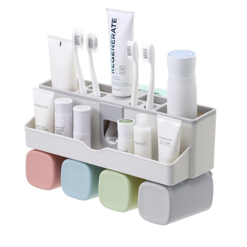 Nuevo y Simple estilo baño cepillo de dientes soporte para pasta dental organizador conjunto de estantes de almacenamiento de plástico Dropshipping AA