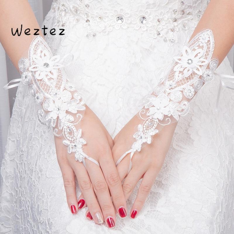 Guantes de boda de encaje diamantes novia guantes de boda blanco corto guantes de ceremonia ST046