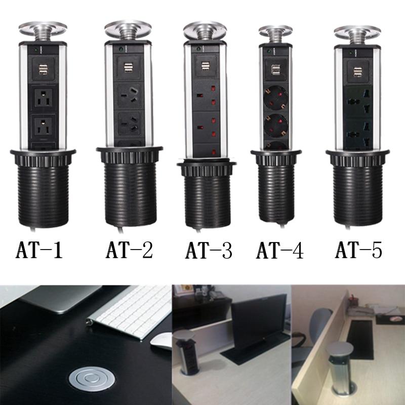 Универсальный США за границу Быстрая доставка скрытый кухонный стол Pop Up электрическая розетка мощность 1Led + 2 Зарядка USB алюминиевая полка
