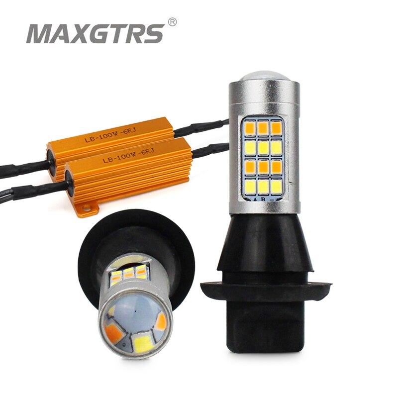 2x S25 1156 BAU15S Dual Color 42SMD 2835 bombillas LED de coche para giro frontal luz señal DRL Canbus gratis de Error con resistencia de 100W