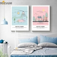 Toile de decoration de paysage moderne  mode nordique douce et ravissante  peinture imprimee  chambre denfants  salon  tableau mural  decor de maison