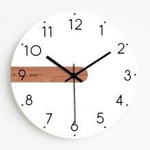 나무 벽 시계 현대 디자인 거실 흰색 침묵 홈 북유럽 시계 럭셔리 어린이 방 장식 시계
