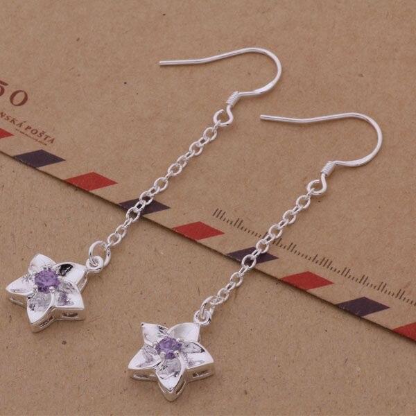Pendientes AE181 de color plateado, joyería de moda, estrella de cinco puntas piedra violeta incrustada/bxuakpba arcajija