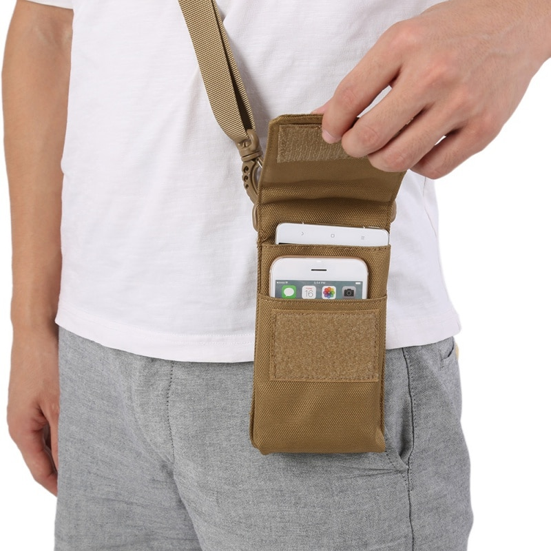 Bolsas deportivas impermeables de nailon 1000D portátil de doble bolsillo táctico Molle bolsa de teléfono funda EDC peajes bolsas de revistas