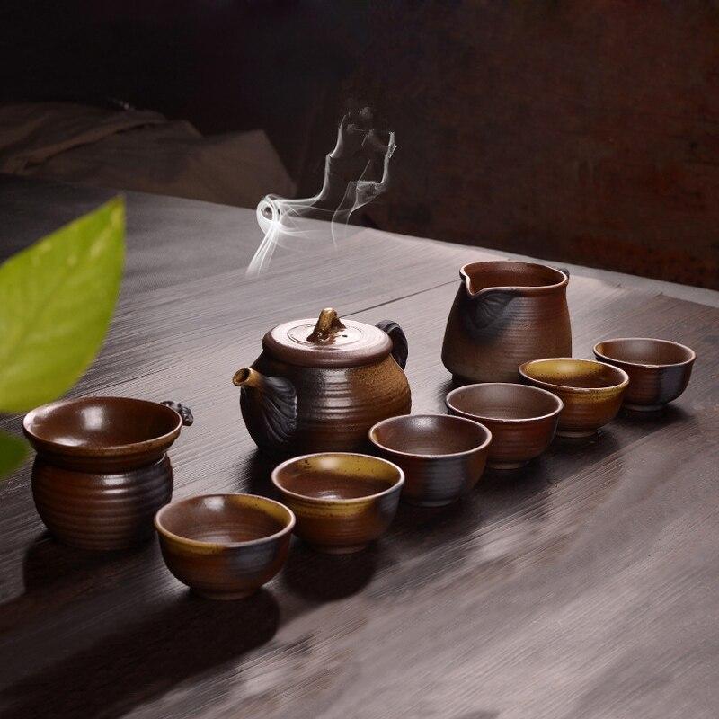 Juego de té de cerámica cruda de estilo antiguo, juego de té de kungfu chino, juego de tetera de cerámica con jarra de infusor, tazas de té en China