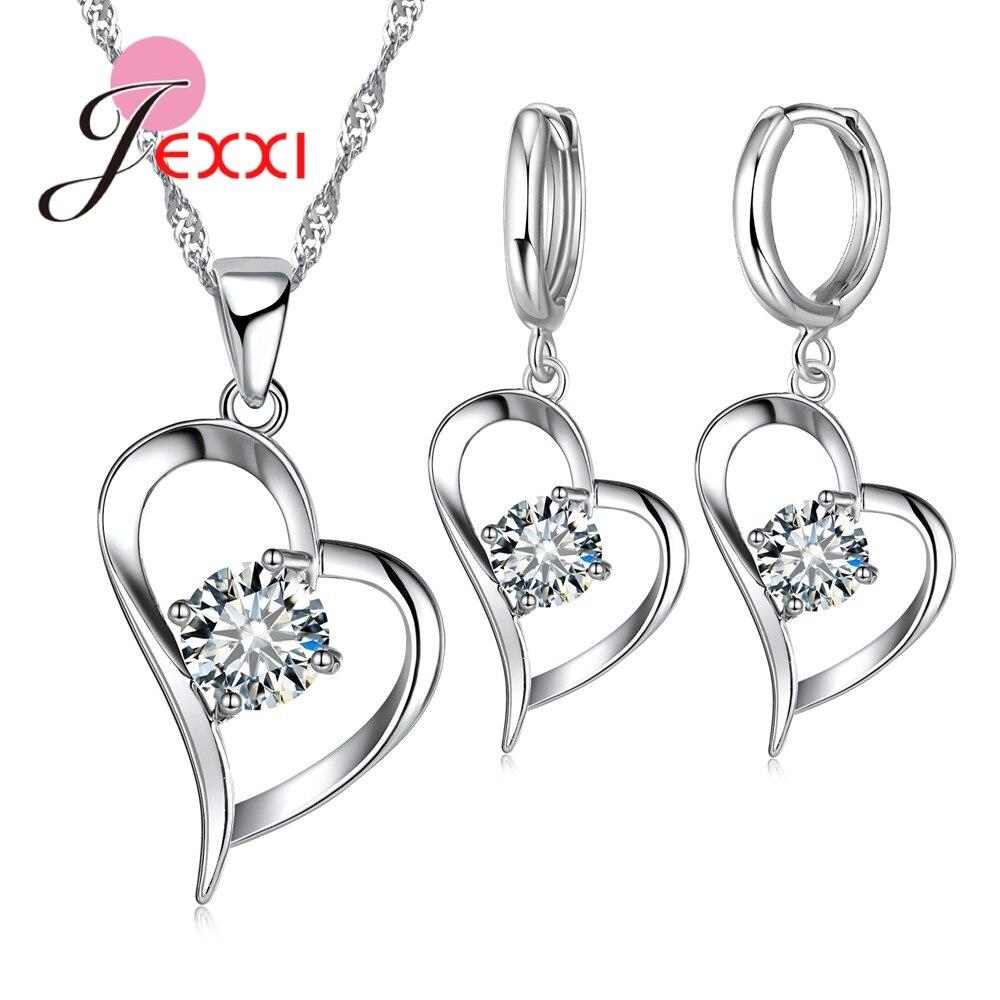 Свадебные ювелирные наборы из стерлингового серебра 925 пробы, романтические Женские Подвески с сердечками, серьги для свадьбы