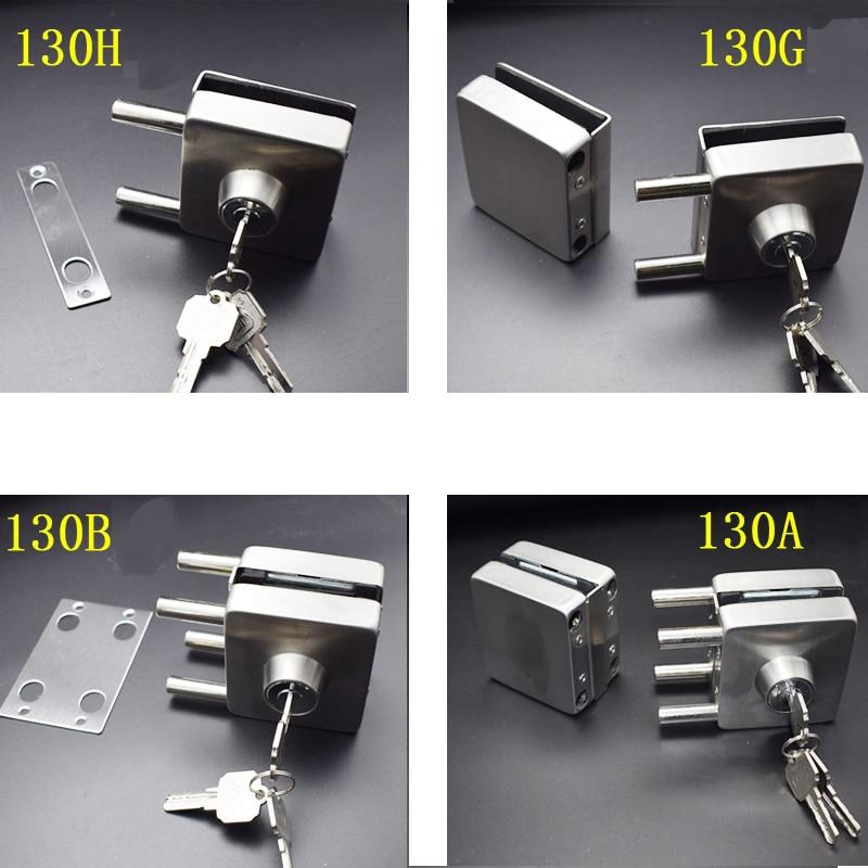 Fechadura de porta de vidro 10-12mm, entrada de aço inoxidável, fechadura da porta, chave balanço, design quadrado, 4 tipos