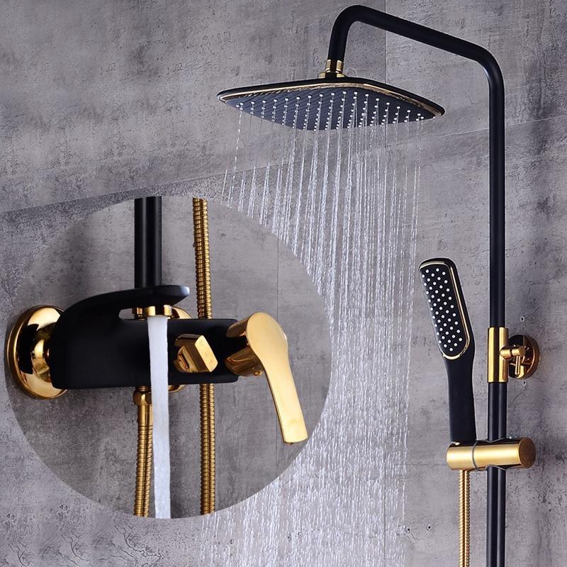 طقم دش فاخر ، أسود/أبيض ذهبي ، مع صنبور رفع ، للحمام ، خلاط بارد وساخن ، مجموعة حوض الاستحمام