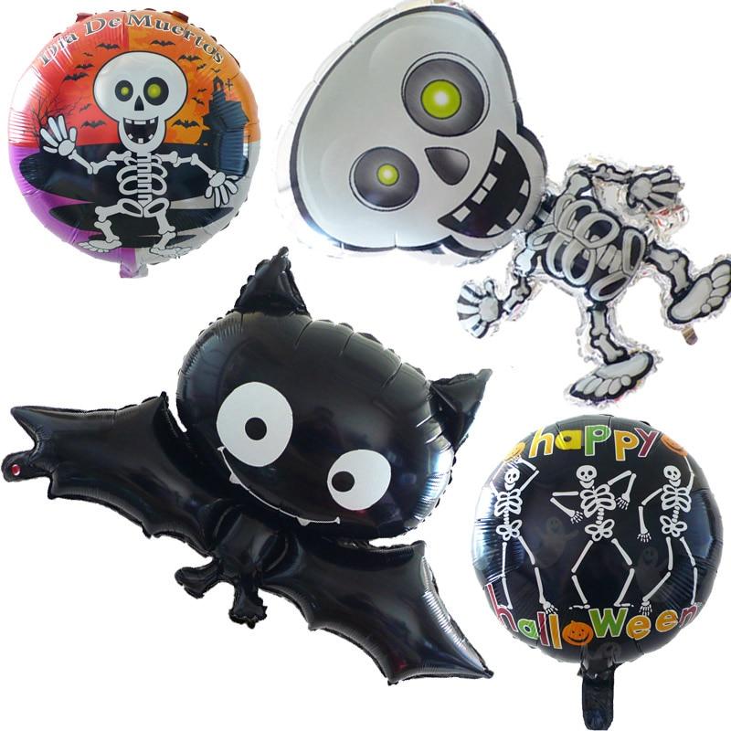 Globos de aluminio para Halloween MMQWEC, globo de fantasma, esqueleto de baile de murciélagos negros hinchables, globo naranja y negro, decoración de halloween