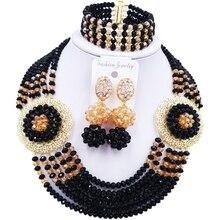 Melhor-venda preto champanhe ouro ab cristal contas colar conjunto para presente de aniversário 6c-sphjz-01