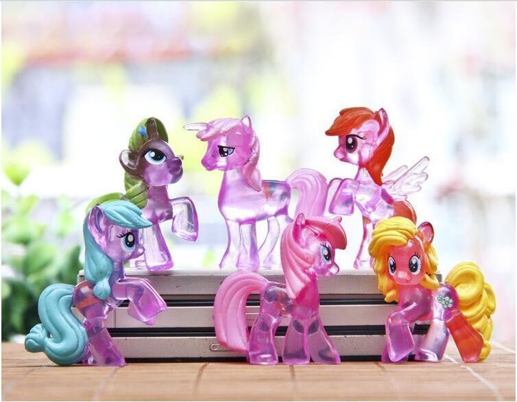 6pcs Rainbow Dash doll toys cute little horse action figures  for Children anime Cartoon hot sale