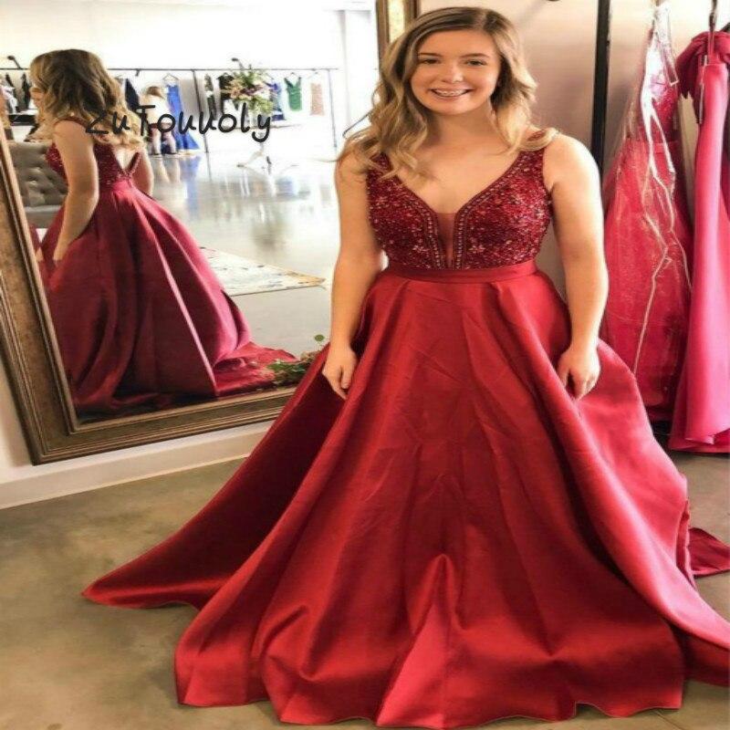 Elegante Rote V-ausschnitt Kristall Abendkleider EINE Linie Bodenlangen Satin Österreich Low Backless Prom Kleid Ausgestattet Abend Uk kleid
