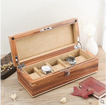 صندوق ساعة فاخر ، خشب كمثرى أفريقي أصلي ، 5 شبكات ، صندوق عرض ، حافظات خشبية للساعات MSBH004d